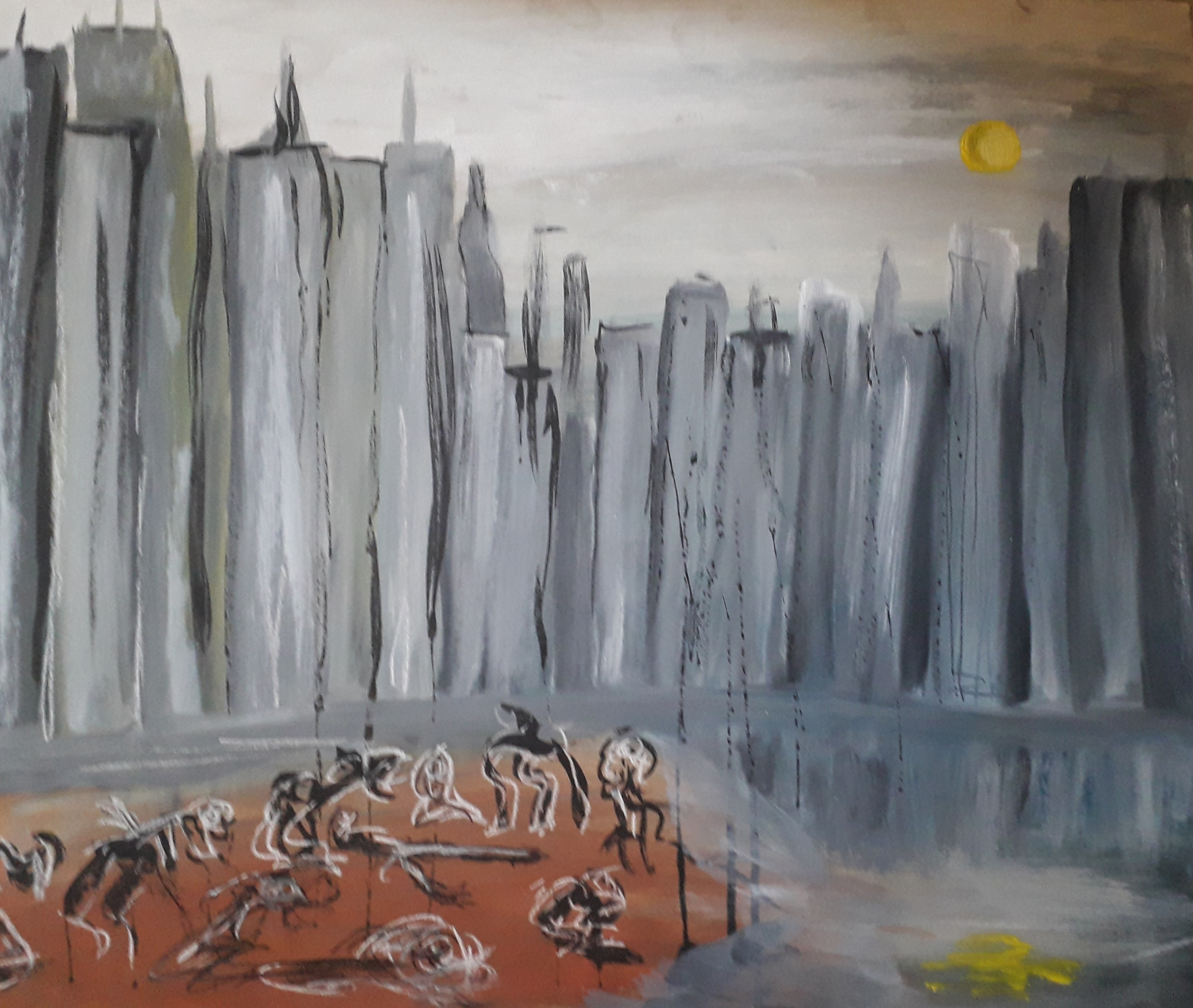 City Limit With Birds On The Beach - Oil, Ink and Charcoal on board - 21.25×25.5 -£20.00