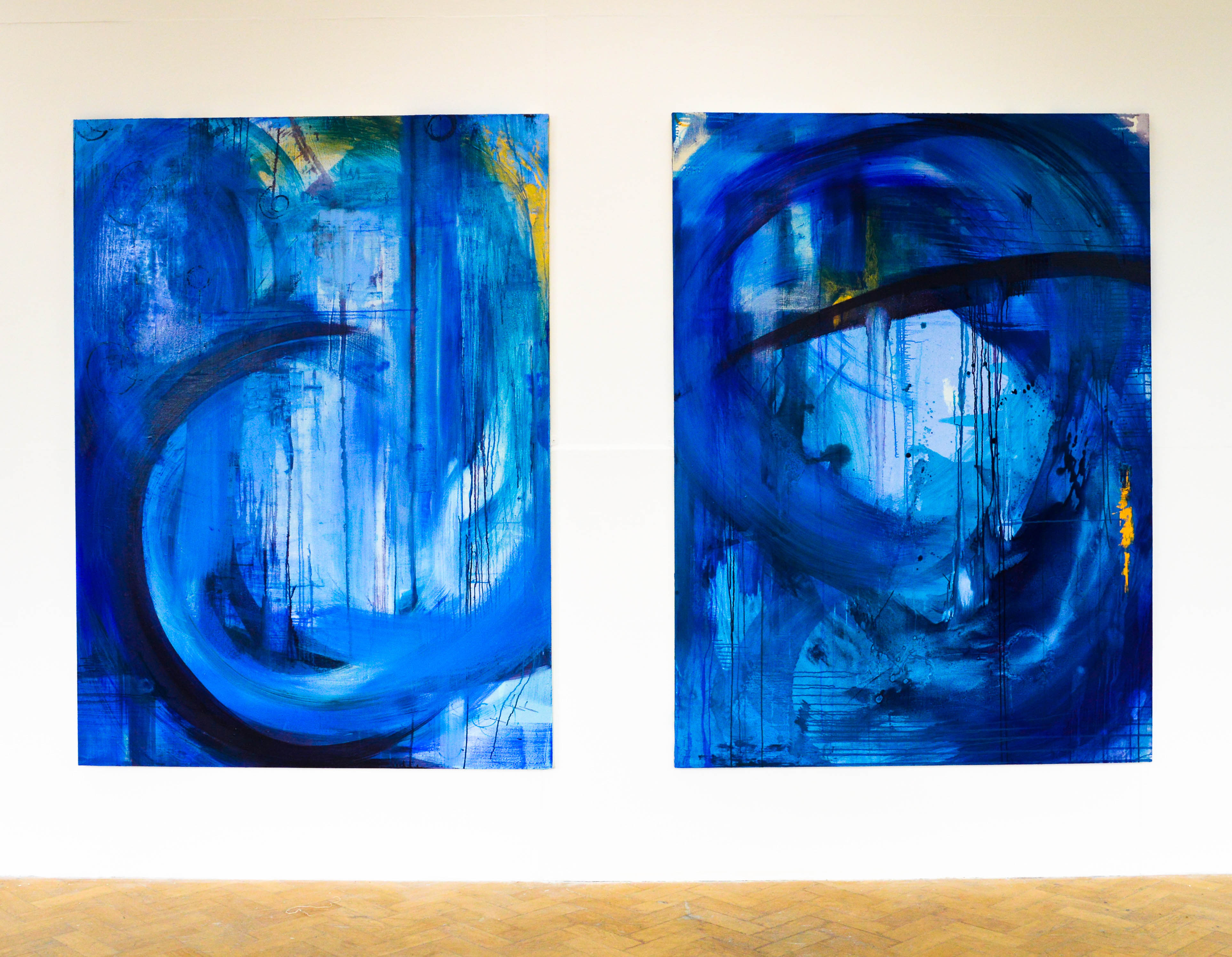 Blue Series 2. Oil on canvas. Diptych. 182.9x134.5cm. For sale.