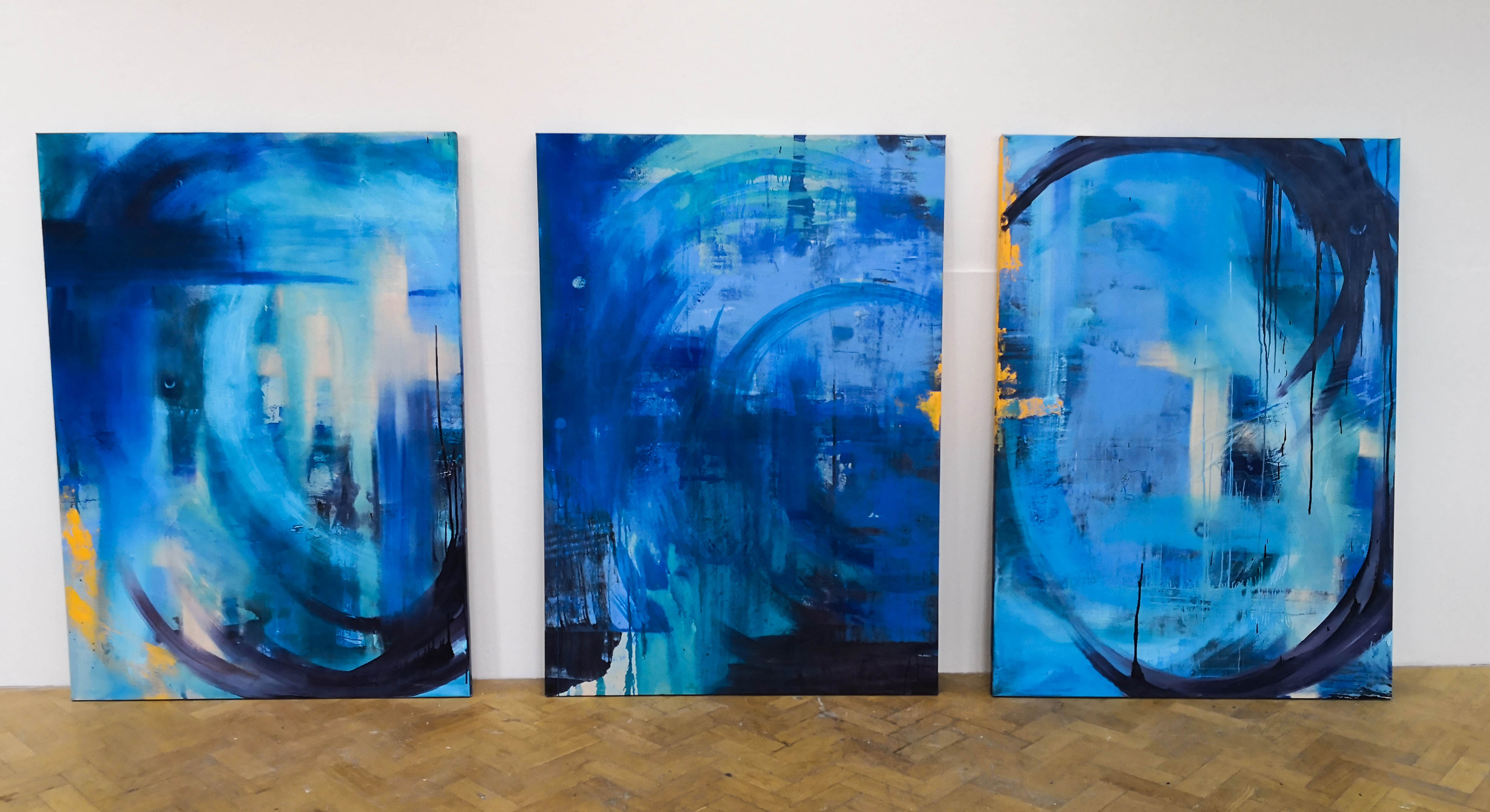Blue Series 3. Oil on canvas. Triptych. 190.8x114.5cm. For Sale.