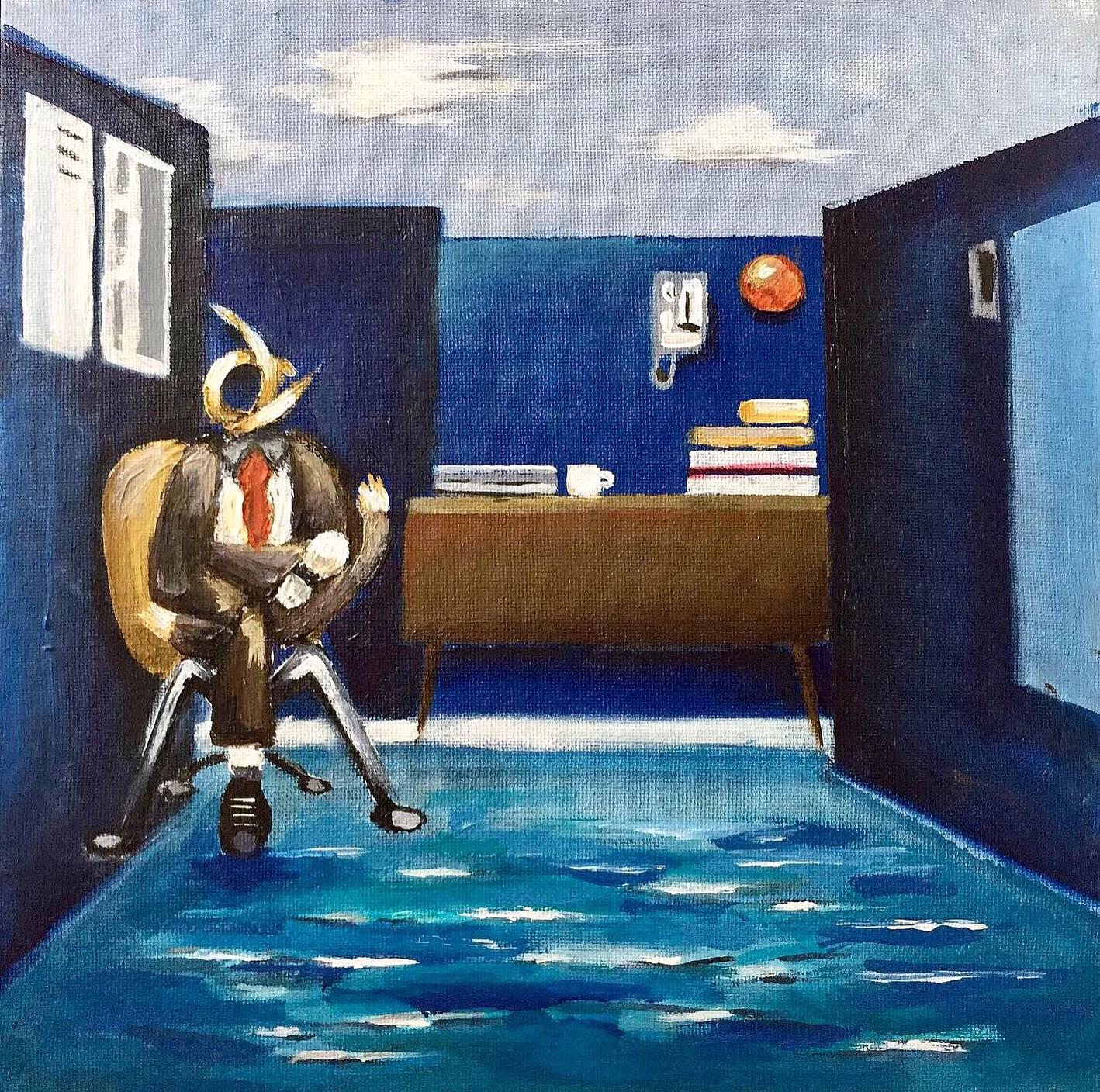 ' 9-5 ' acrylic painting on 12 x 12 inch canvas. Depicting a man stuck in his miserable 9-5 office job pinning his hopes on that all inclusive beach holiday once a year.
