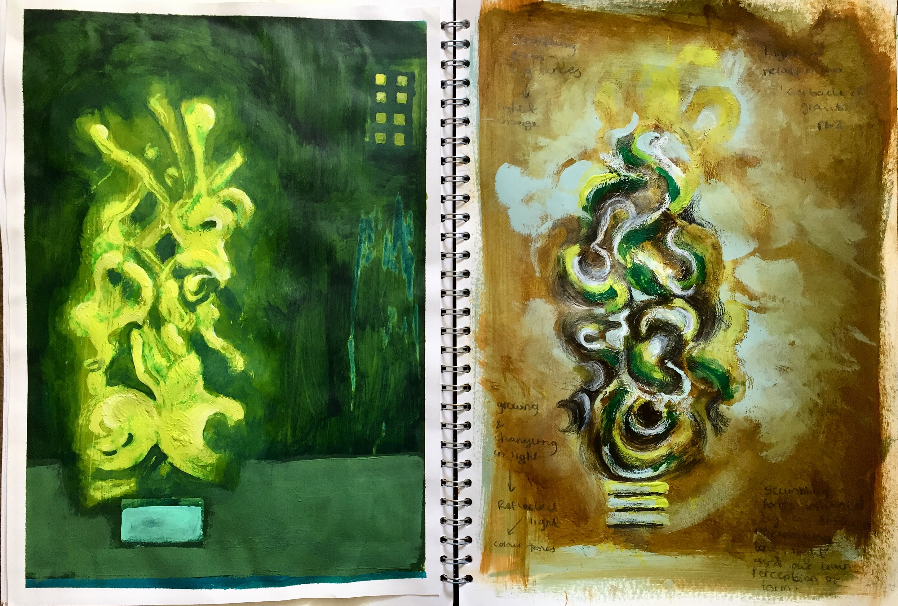 'Curtailed Growth' A3 Sketchbook pages (Acrylic Paintings)