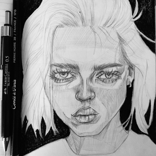 Black and white sketch of a girl