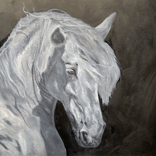 Oil painting in monochrome.