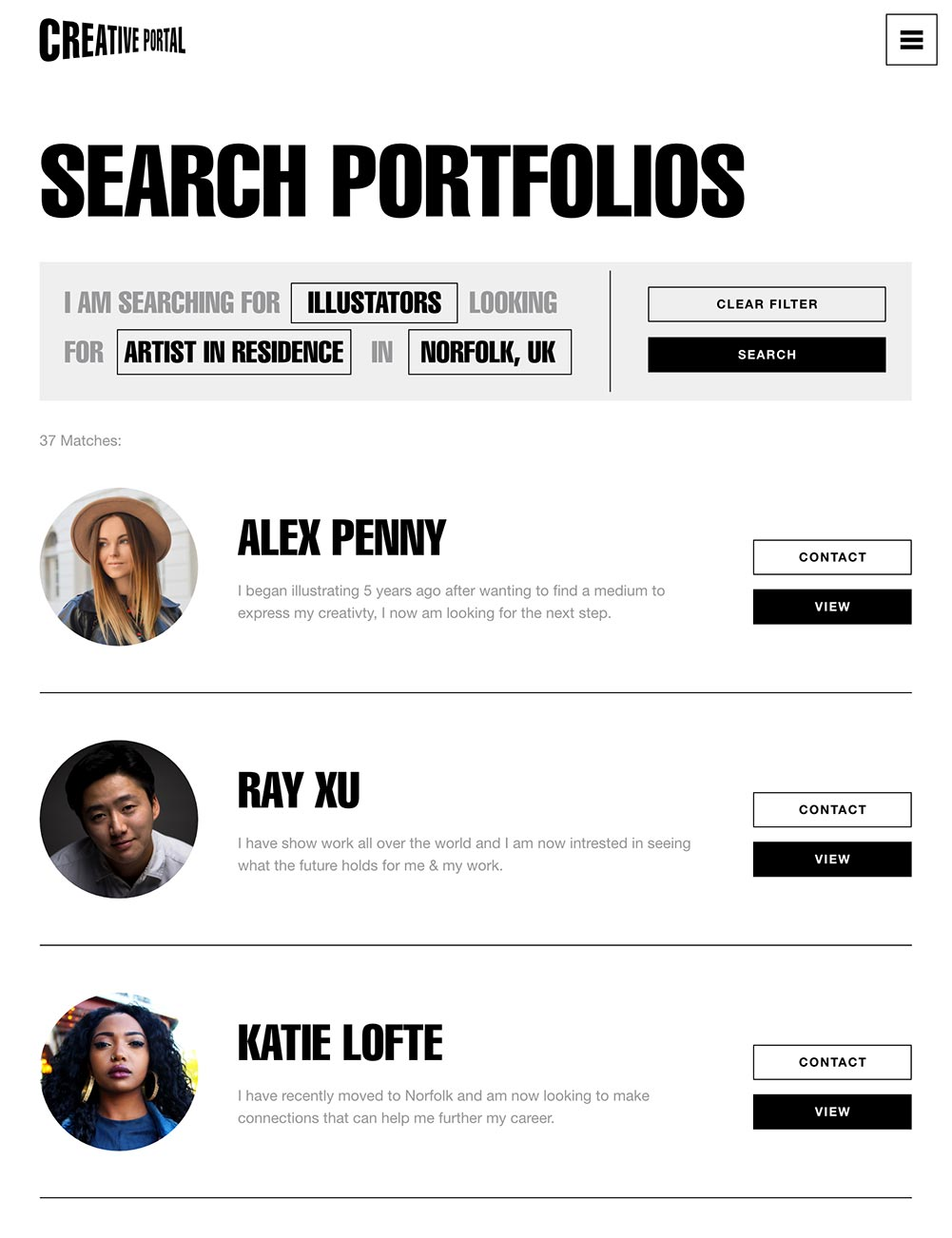 Creative Portal Search Example
